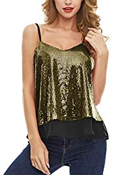 Gold Sequined Sleeveless Camisole Tank Tops