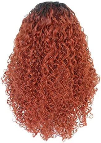 TIREOW Mode Frauen Perücke Vorne Spitzen Partei Cosplay Langem Rot Synthetische Haarkurze Perücken Haar Wave Perücke 26 Zoll