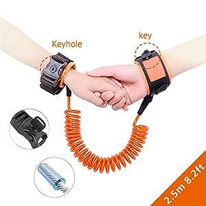 Child Safety Leash, HSCC Child Anti Lost Strap Skin Friendly Wrist Link Belt Sturdy Flexible Safety Harness for Travel Outdoor Shopping (Orange&2.5M)