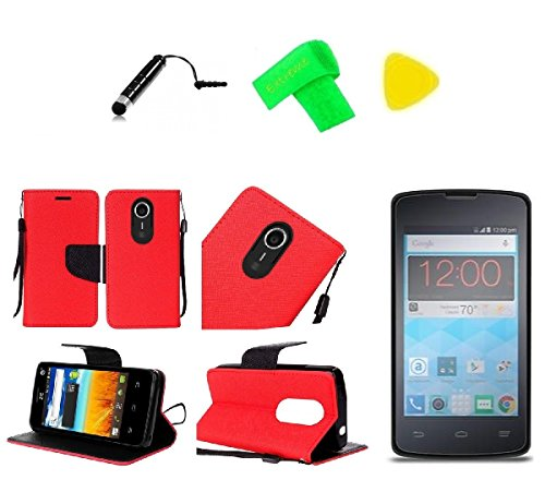hone Case + Screen Protector + Extreme Band + Stylus Pen + Pry Tool for ZTE Quest N817 Virgin Assurance QLink N-817 Legacy (Wallet Red Black) ()