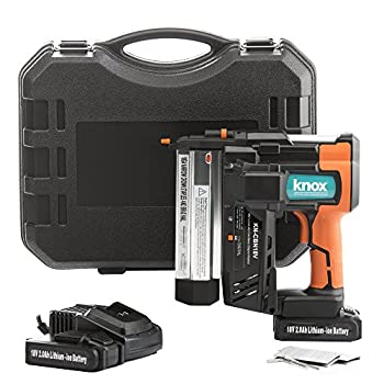 Image of Brad Nailers Knox Cordless Nail and Staple Gun - 18 Gauge Brad Nailer and Stapler Combo with 2 Heavy 18V Rechargeable Batteries and Case - Single or Contact Firing