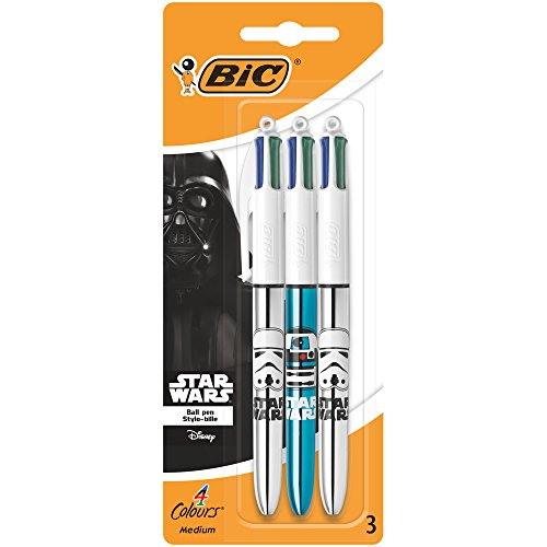Star Wars BIC 4 Colours Shine Ballpoint Pens Assorted Metallic Body Colours 3 (Bic Body)