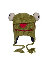 Paper High Women's Fun Frog Handmade Woollen Animal Hat With Fleece Lining