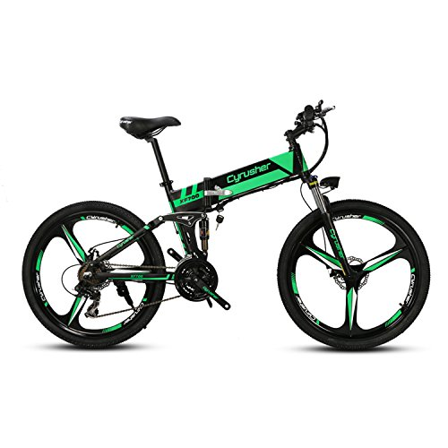 Cyrusher XF700 Folding Electric Bike 26 inch Mountain Bicycle Full Suspension 36V10.4AH Hidden Battery Shimano 21 Speeds Double Mechanical Disc Brake Best Full Suspension Mountain Bike