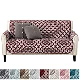 Modern Printed Reversible Stain Resistant Furniture Protector with Geometric Design. Perfect Cover for Pets and Kids. Adjustable Elastic Straps Included. Liliana Collection (Sofa, Oxblood Red)