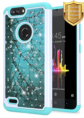 NageBee [Glitter Diamond] Case Compatible with ZTE Blade Z MAX/ZTE Sequoia (Z982) w/[Tempered Glass Screen Protector] Hybrid Protective [Studded Rhinestone Bling] Sparkle Shiny Girls Cute -Plum (Shiny Plum)