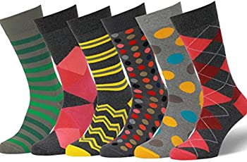 Easton Marlowe Mens 3/6 Pack Colorful Patterned Dress Socks