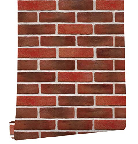 9554a760488 HaokHome 22061 Realistic Faux Red Brick Wallpaper For Home kitchen Bathroom  Decor 20.8