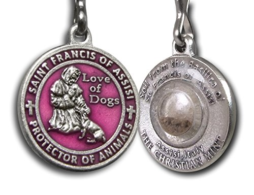 The Christian Mint, LLC St. Francis of Assisi Enameled Pet Medal with Capsule of Assisi Soil (Charm Dog Tag Tags)