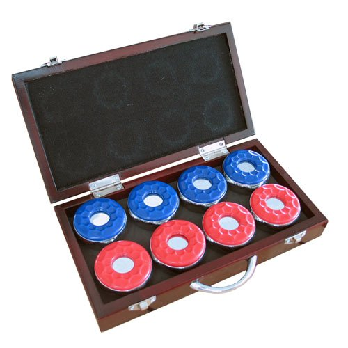 "New Harvil CARMELLI 8 2-1/8"" Shuffleboard Pucks with Wooden Box"