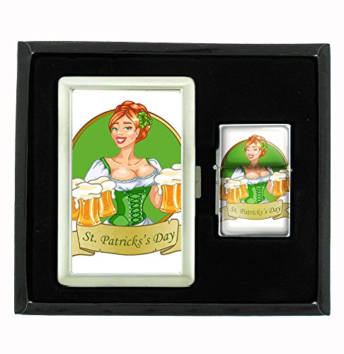 Patty's Girl St. Patrick's Day Cigarette Case and Flip Top Oil Lighter Set
