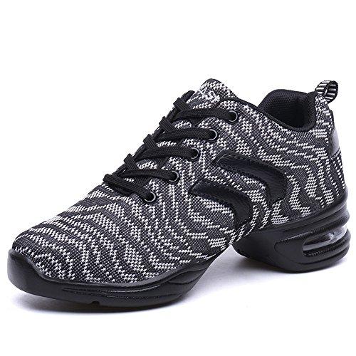 Yuanli Frauen Mesh Ballroom Tanzschuhe Leichte Jazz Schuhe Grau