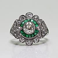 LALISA HOT Vintage Art Deco Emerald White Sapphire Silver Filled Wedding Jewelry Ring (7)