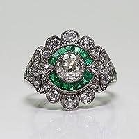 Siam panva Fashion 925 Silver Antique Emerald Gemstone Ring Wedding Women Jewelry Size 6-10 (10)