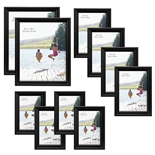 MCS 10pc Multi Pack Picture Frame Value Set - Two 8x10 in, Four 5x7 in, Four 4x6 in, Black (65508) ()