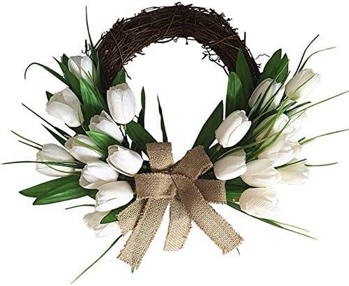 shuai Decoraciones navideñas, Corona de Navidad, Decoraciones de la Puerta Delantera for Interiores o al Aire Libre Tulipán de tulipán Corona de dintel en la Puerta de la Flor de Seda Europe