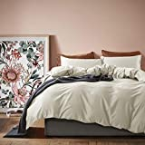 Solid Color Egyptian Cotton Duvet Cover Luxury Bedding Set High Thread Count Long Staple Sateen Weave Silky Soft Breathable Pima Quality Bed Linen (King, Bone)
