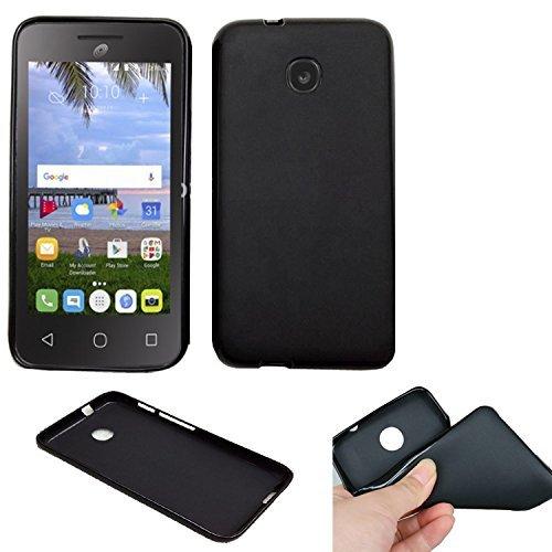 Phone Case For TracFone A466BG Alcatel PIXI UNITE 4G (Straight Talk) Slim-Flex Gel Cover ( 2tone Frosted-Black Gel)