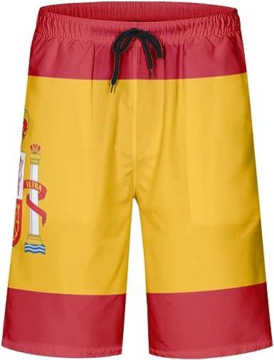 Fanvanandvans – Bañador para hombre, diseño de bandera de España, secado rápido, con forro de malla y cordón ajustable: Amazon.es: Ropa y accesorios