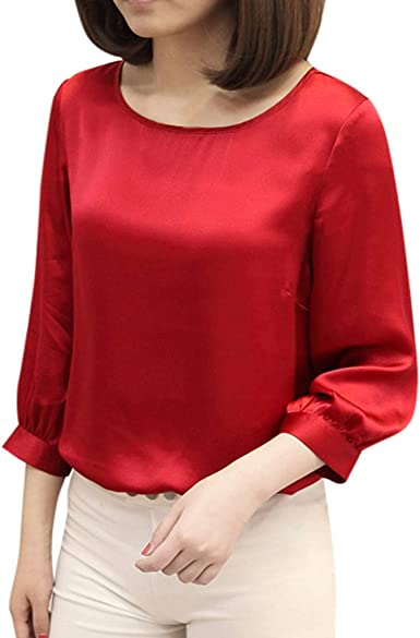 MXJEEIO 💖 Camisas Mujer Camisa de Seda Manga Larga Blusa Mujers Manga Larga con Lentejuelas Patchwork Shirt Elegante Shirts Color SóLido Camisetas Cuello Redondo Pullover Tops para la Oficina: Amazon.es: Ropa y