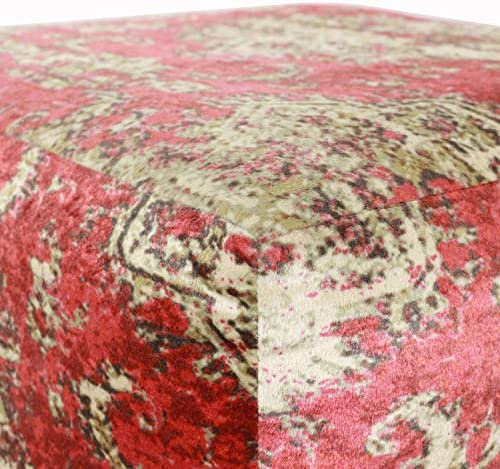 Red//Ivory D/écor Therapy Pouf