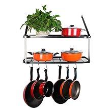 "VDOMUS Shelf Pot Rack Wall Mounted Pan Hanging Racks 2 Tire, Black, 10.6"" H x 29.5"" W x 13.7"" D"