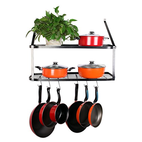 "VDOMUS Shelf Pot Rack Wall Mounted Pan Hanging Racks 2 Tire, Black, 10.6"" H x 29.5"" W x 13.7"" D"