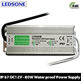 10W - 250W IP67 Waterproof LED Transformer Driver Power Supply for Strip DC 12V (DC12V 6.67A,80W)