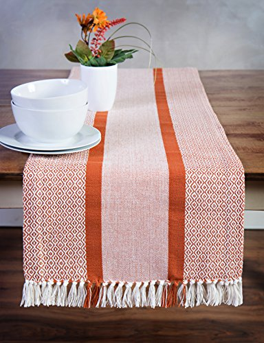 Sticky Toffee Cotton Woven Table Runner with Fringe, Traditional Diamond, Orange, 14 in x 72 in