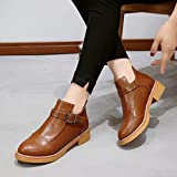 Hemlock Teen Girls Boots Slip on Ankle Boots Winter Flat Martin Boots PU Leather Autumn Booties Shoes