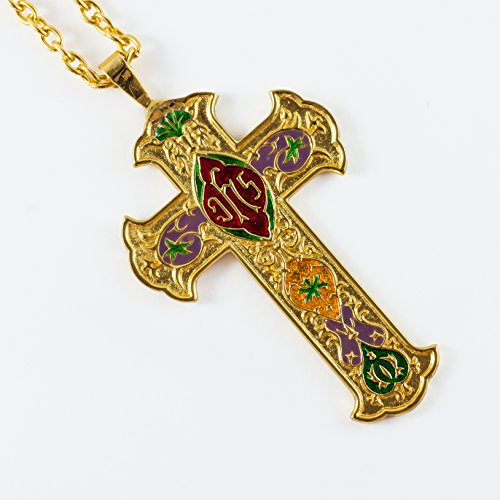 LAquer inlay Gold Plated Pectoral Cross by mds