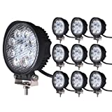 4 inch off road fog light - LEDKINGDOMUS 10pack 4inch 27W Flood Round LED Work Light Fog Light Waterproof Offroad Driving Led light for Jeep SUV Boat Truck ATV Car