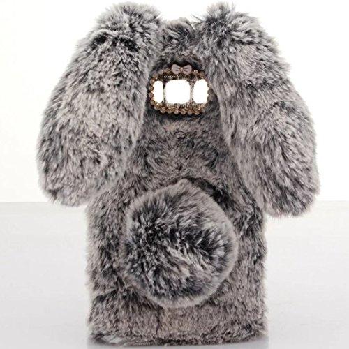 Plush Case (Galaxy S8 Case [Plush Rabbit Case] Stylish Desgin Cute Furry Rabbit Bunny Fur Bling Crystal Rhinestone Design Fluffy cool soft Case protective Cover slim shell new for Samsung Galaxy S8)