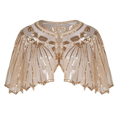 PrettyGuide Women's 1920s Shawl Beaded Sequin Deco Cape Bolero Flapper Cover Up Rose Gold