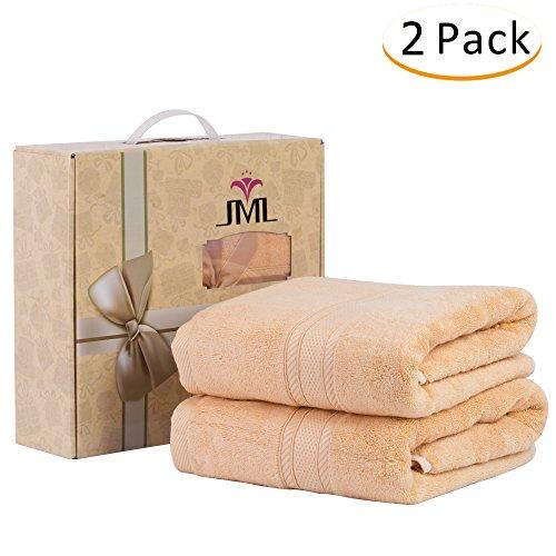 Jml Bamboo bath towel, ultra soft and absorbent bath towel, 27×55 inch, Camel, 2 Pack