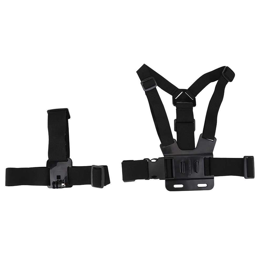 Acouto Lightweight Action Camera Adjustable Helmet Strap Chest Harness Mount Accessory for Go pro