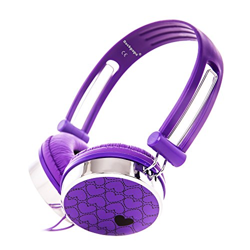 RockPapa Over Ear Love Hearts Headphones for Kids Boys Girls Childs Teens Adults, Adjustable Stereo Headphone for Surface iPod iPhone 6 iPad mini iPad Air Macbook Tablets PC MP3 Purple