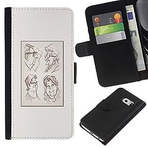 KingStore / Leather Etui en cuir / Samsung Galaxy S6 EDGE / Affiche Dessin