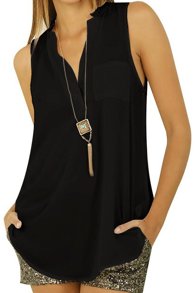 O&W Women's Black Casual Button Loose V Neck Sleeveless Chiffon Cool Blouse Top L