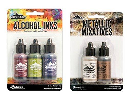 Adirondack Alcohol Ink Bundle Farmers Market Ink Set Metallic Mixatives Ink Set (Farmer Mkt + Pearl/Copper) ()