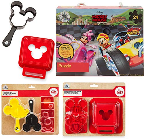 (Pal Time Mealtime Mickey Mouse Junior Fun Disney Magic Collection + Sandwich molds + Ears Food Mold + & Roadster Racers Puzzle Box Fun time Treats and eats )