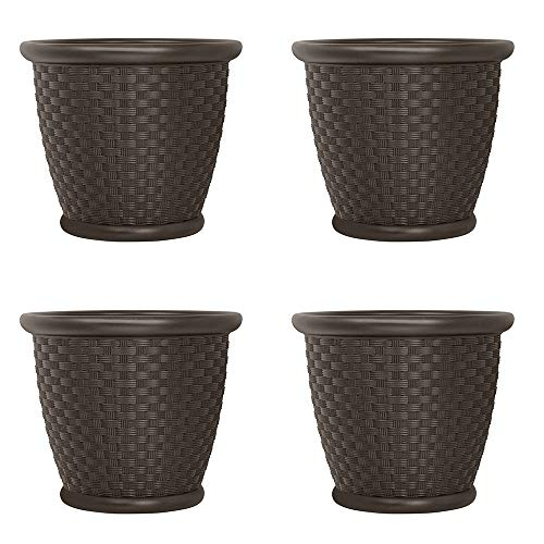 Suncast Sonora 22 Inch Resin Wicker Decorative Garden Flower Planter 4 Pack