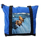 Lunarable Africa Shoulder Bag, Grizzly Bear in the Stream, Durable with Zipper