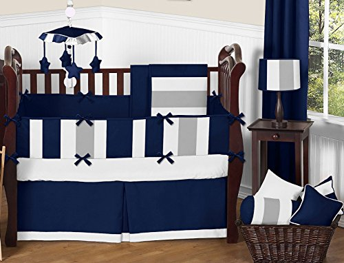 Nursery Baby Patchwork Mini Crib Bedding Set 100% Egyptian Cotton 500 TC 5-Piece Set Fitted Sheet, Skirt,Comforter,Bumper,Pillowcase (Navy/Silver,Mini Crib) Cotton Egyptian Crib Set