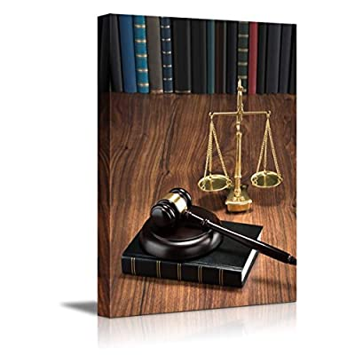 Elegant Print, Wooden Gavel on Book with Golden Scale on Table Justice Concept Wall Decor, Classic Design