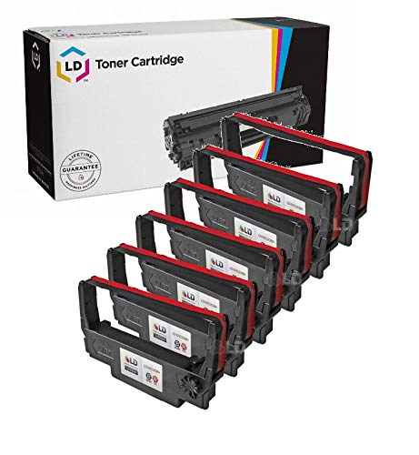 LD Compatible POS Ribbon Cartridge Replacement for Epson ERC-30BR (Black & Red, 6-Pack)