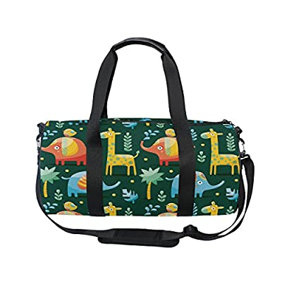 a76bc1cf3f 50%OFF KUWT Cartoon Elephant Giraffe and Birds Photo Custom Canvas Duffel  Bag Sports Gym
