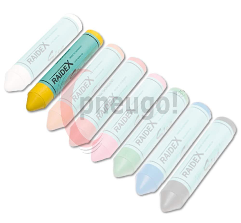 5 Original pneugo!/® Ventilkappen Reifenmarkierung 2 x Sisa Fettkreide gelb inkl