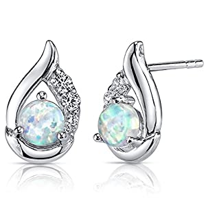 Created Opal Earrings Sterling Silver Round Cabochon 1.00 Carats
