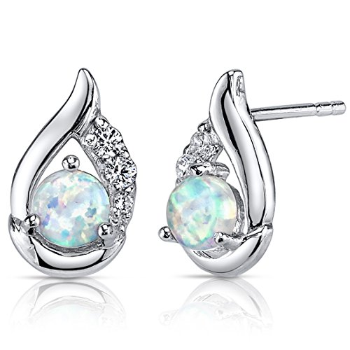 Created Opal Earrings Sterling Silver Round Cabochon 1.00 Carats (Sterling Silver Created Opal Earring)